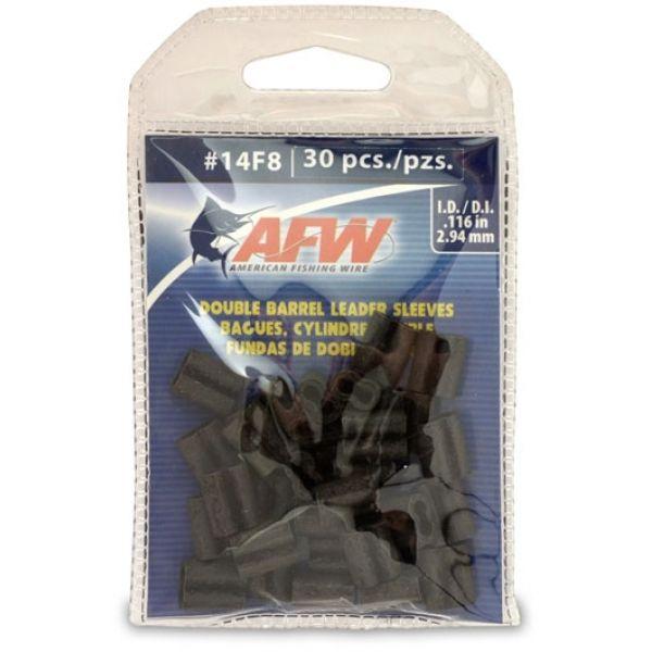 American Fishing Wire J14F8B-B #14F8 Double Barrel Sleeves Black 30pc