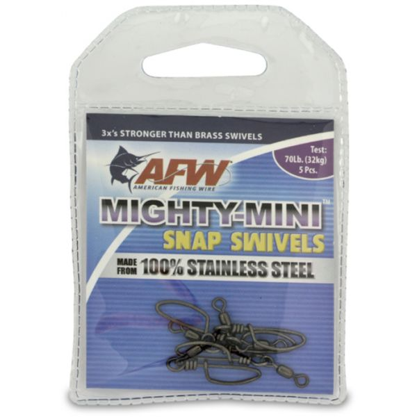 AFW FTSS070B-A 70Lb. 5pk Stainless Steel Snap Swivels Black