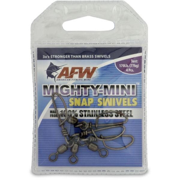 AFW FTSS170B-A 170Lb. 4pk Stainless Steel Snap Swivels Black