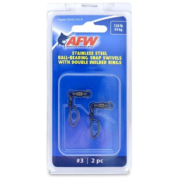 AFW FTV120B-A Size #3 120lb SS Ball Bearing Snap Swivels, 2pc