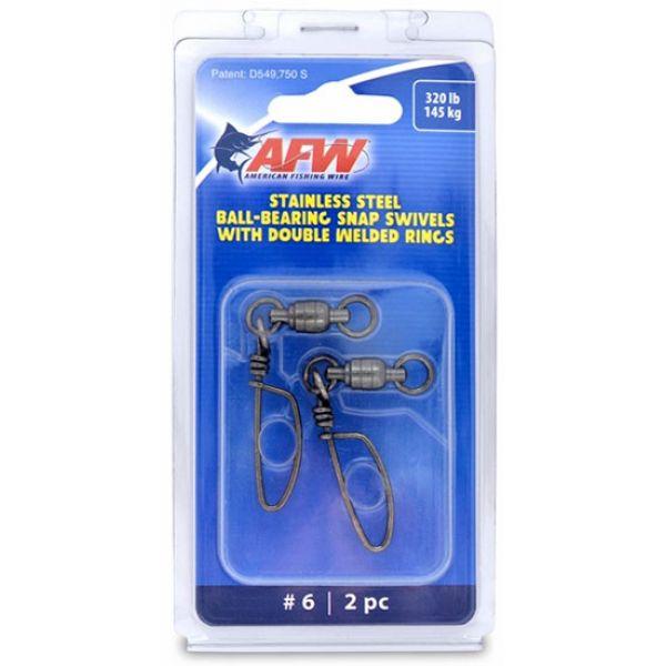 AFW FTV320B-A Size #6 320lb SS Ball Bearing Snap Swivels, 2pc
