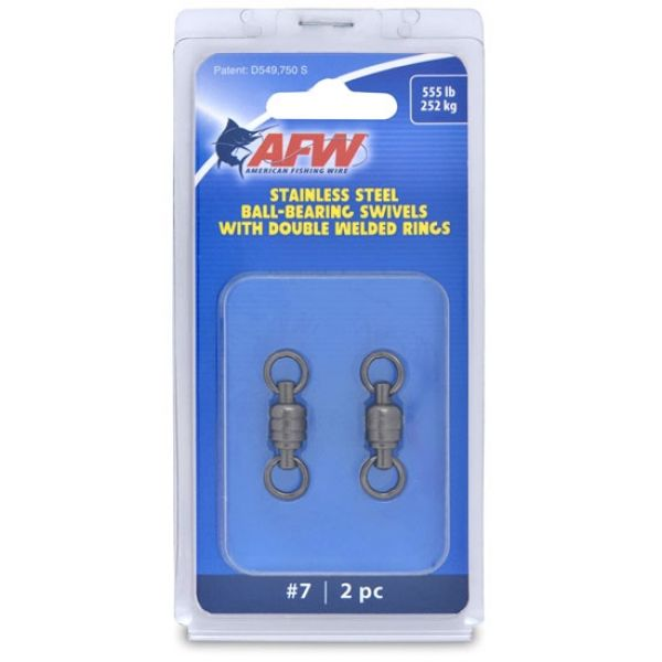 AFW FWV07B-A Size #7 555lb Stainless Steel Ball Bearing Swivels, 2pc