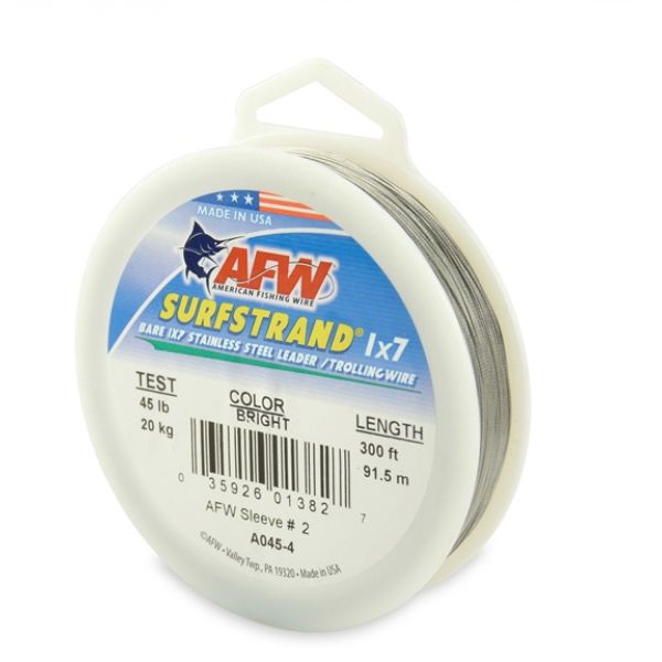 American Fishing Wire A045-4 Surfstrand Bare Leader Wire Bright 300'