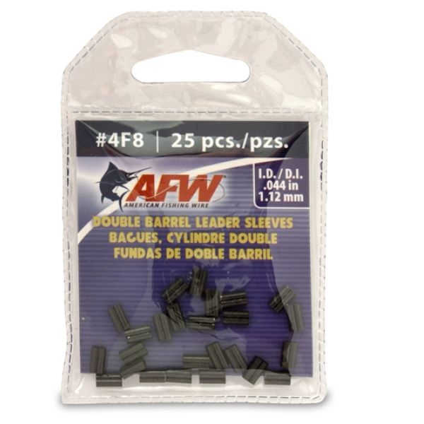 American Fishing Wire J04F8B-A #4F8 Double Barrel Sleeves Black 25pc