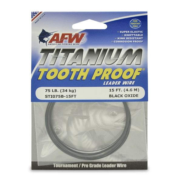 American Fishing Wire STI075B-15FT Titanium Tooth Proof Leader Wire