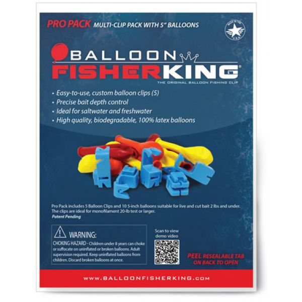 Balloon Fisher King Pro Pack - 5 Balloon Clips, 10 5in Balloons