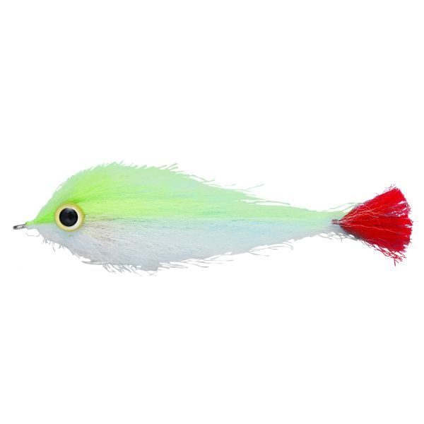 Enrico Puglisi Big Eyes Red Tail Saltwater Fly - Chartreuse/White - #6/0