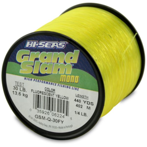 Hi-Seas Grand Slam Mono 1/4 lb. Spool Fluorescent Yellow GSM-Q-30FY