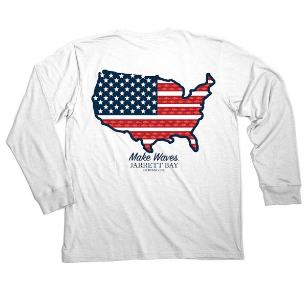 Jarrett Bay US Map Harkers Island Long Sleeve T-Shirt - 3XL