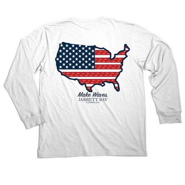 Jarrett Bay US Map Harkers Island Long Sleeve T-Shirt