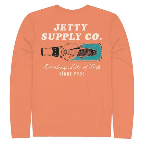 Jetty Drinkfish UV Long Sleeve T-Shirt - Coral