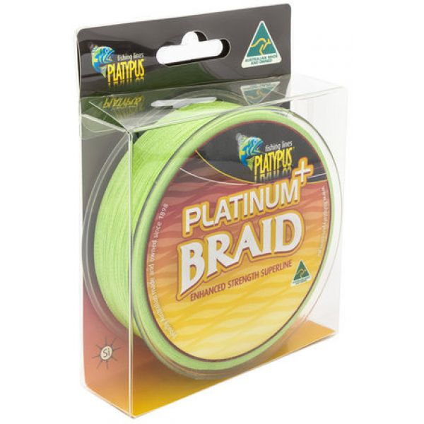 Platypus Platinum Plus Braid Line - 15 lb X 125 yd - High Vis Lime