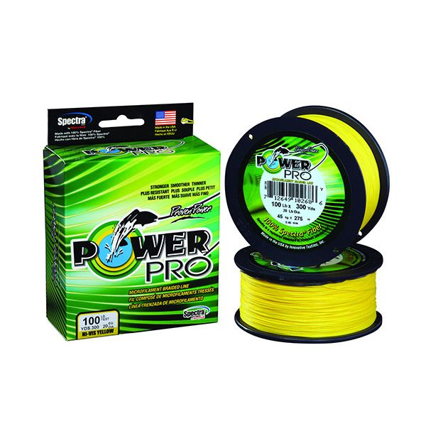 PowerPro Braided Spectra Fiber Fishing Line Hi-Vis Yellow 50LB 100 Yds