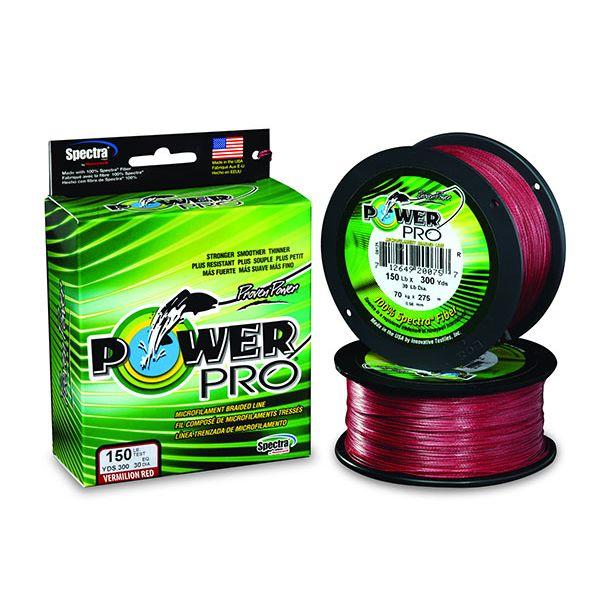 PowerPro Braided Spectra Fiber Fishing Line Vermilion Red 40LB 100 Yds