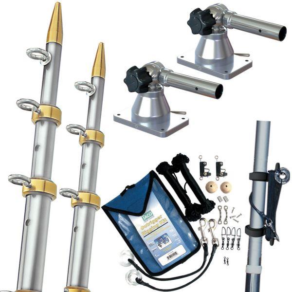 TACO Grand Slam 170 Outrigger Kit 15' 1-1/8 Silver/Gold GS-170VEL15-1