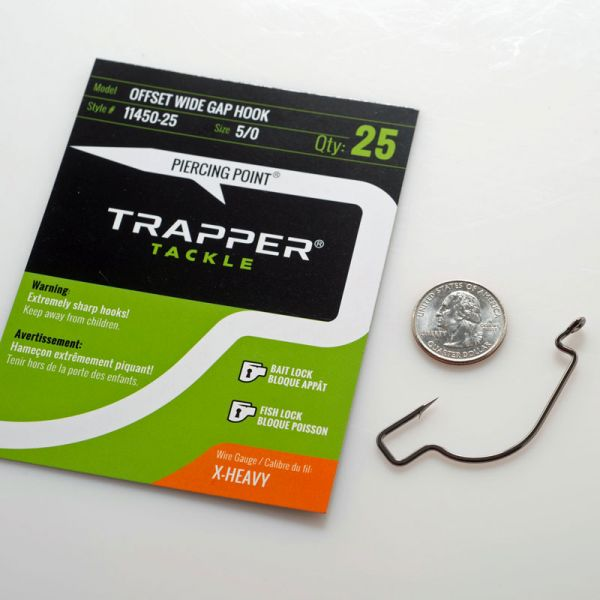Trapper Tackle Offset Wide Gap Hook - X Heavy - 5/0 (25 Pack)