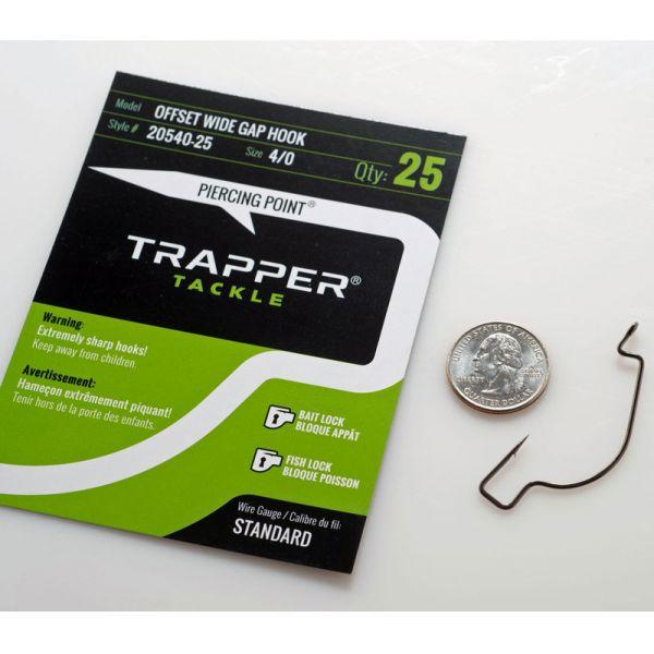 Trapper Tackle Offset Wide Gap Hook - Standard - 4/0 (25 Pack)