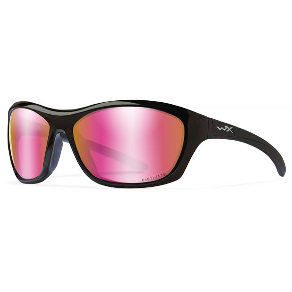 Wiley X WX Glory Sunglasses - Rose Gold Mirror Lens/Gloss Black Frame