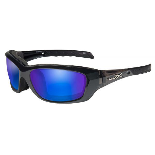 Wiley X Gravity Sunglasses - Black Crystal/Polarized Blue Mirror