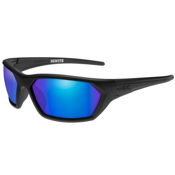 Wiley X Ignite Sunglasses - Matte Black/Polarized Blue Mirror