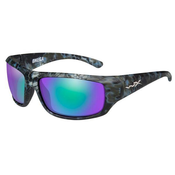 Wiley X Omega Sunglasses - Kryptek Neptune/Polarized Emerald Mirror