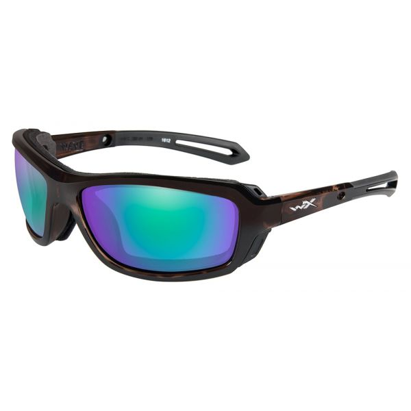 Wiley X Wave Sunglasses - Gloss Demi/Polarized Emerald Mirror Amber