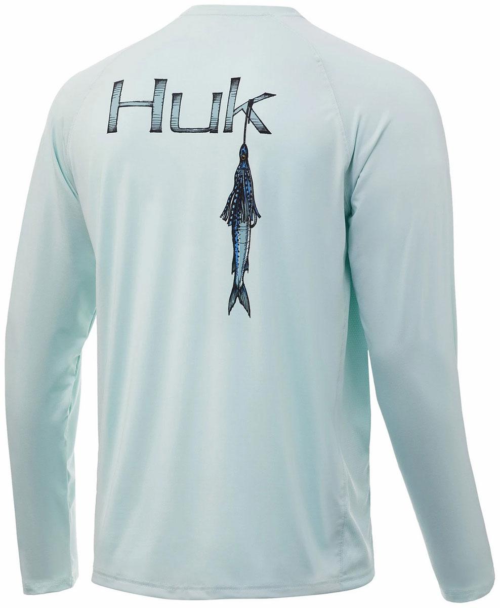 Huk Women/'s Beach Life Pursuit Seafoam Small Long Sleeve Fishing Shirt
