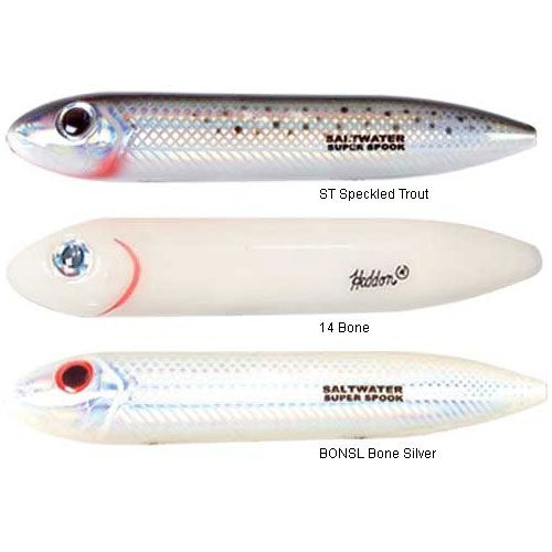 Heddon Salt Water Super Spook X9256BONSL Bone Silver Topwater Lure for sale online