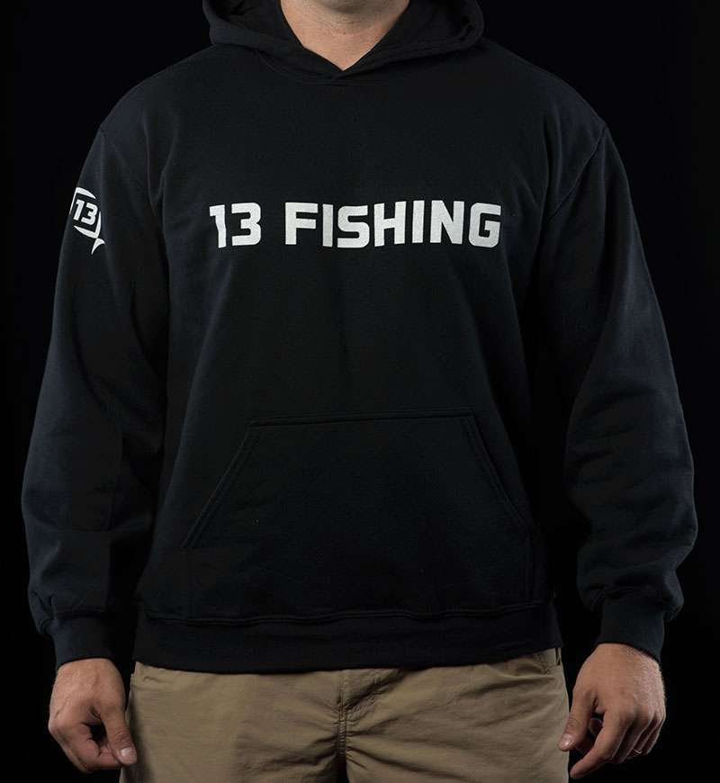 13 fishing performance hoodie black w white logo for 13 fishing apparel