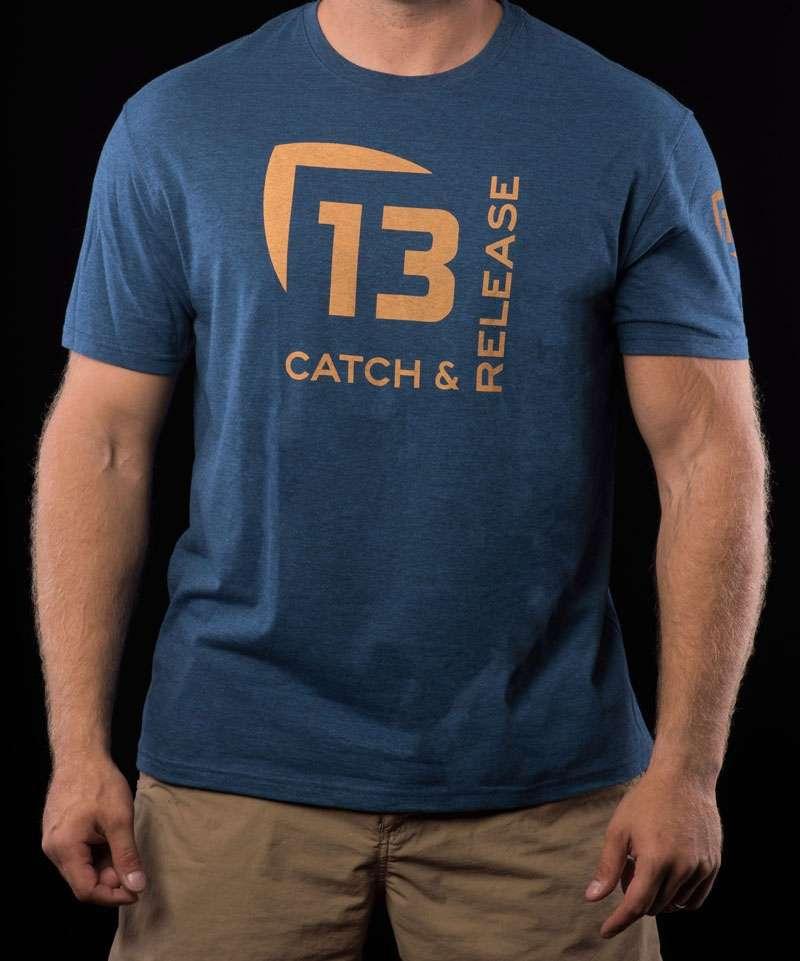 13 fishing tscrebe l catch release t shirt