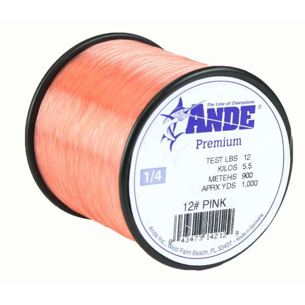 Ande A18-12P Premium Monofilament Fishing Line 1//8Lb Spool 12 lb 500 Yards Pink