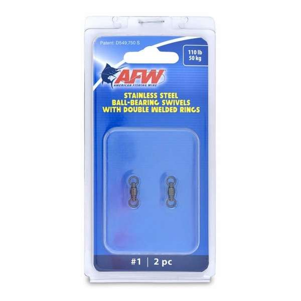 AFW FWV01B-A Measure assess #1 110lb Stainless Steel Ball Bearing Swivels, 2pc