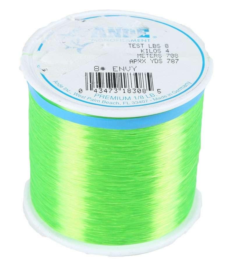 Ande premium mono 1 8 lb spool 8 lb test hi vis green for Ande fishing line
