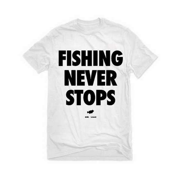 Big Bass Dreams Fishing Not at any time Stops T-Shirt - White - Medium