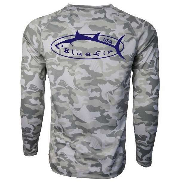 Bluefin USA Camo Logo Performance Long Sleeve Tee - Grey - Size XX-Large BLU-0199-5