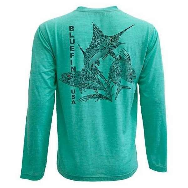 Bluefin USA Zentangle 3 Guys Long Sleeve Technical Shirt Aqua - Size Medium BLU-0224-3