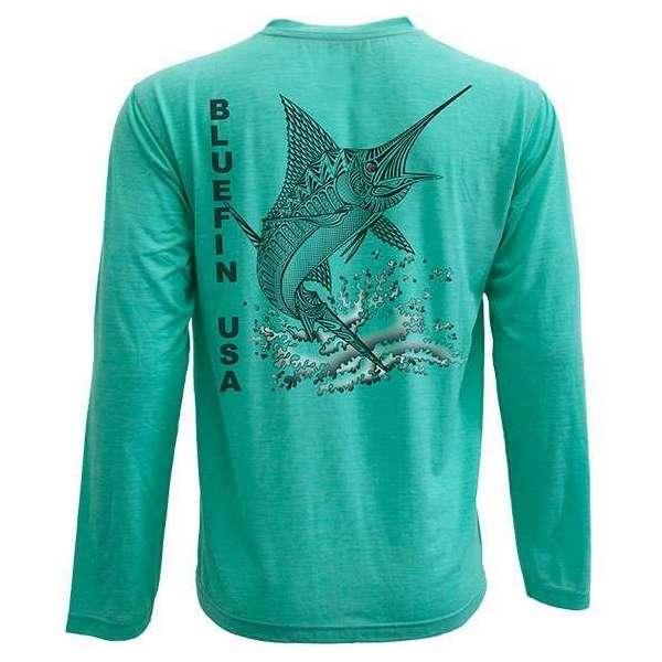 Bluefin USA Zentangle Marlin L/S Tech Shirt Aqua - X-Small BLU-0214-1