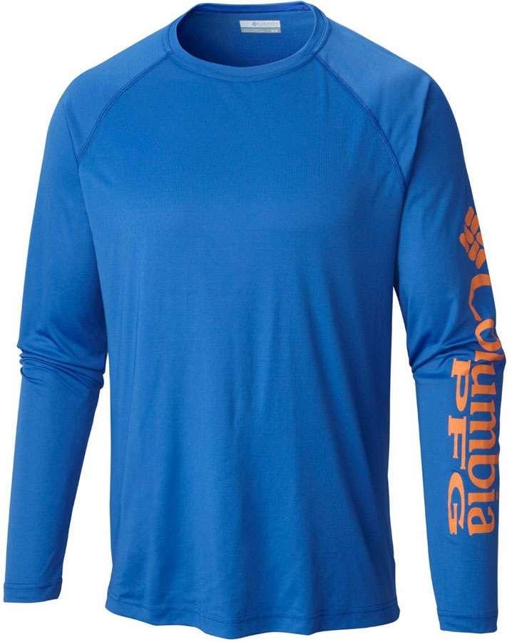 4e273e85b96 Columbia 1388261491 PFG Terminal Tackle Men's L/S Shirt - Vivid  Blue/Jupiter Logo - Medium