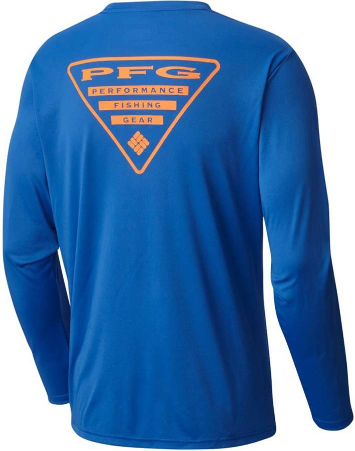 9634160b3bd Columbia 1707701487 Terminal Tackle PFG Triangle Men's Long Sleeve Shirt -  Vivid Blue/Jupiter Logo - Medium