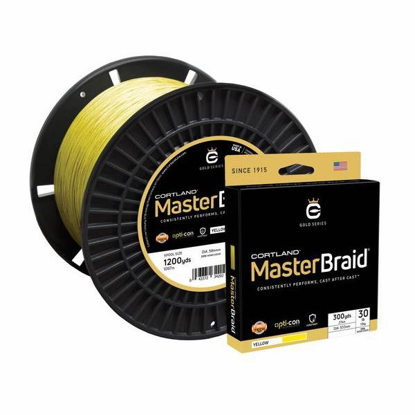 Cortland master braid line 30 lb x 300 yd yellow for Braid fishing line