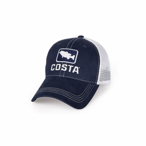 bcf3be24a7d Costa Del Mar Bass Trucker X-Large Hat - Navy   White