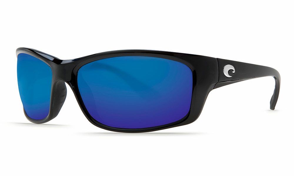 5186681aaa Costa Jose Sunglasses Shiny Black Blue Mirror 580P - TackleDirect