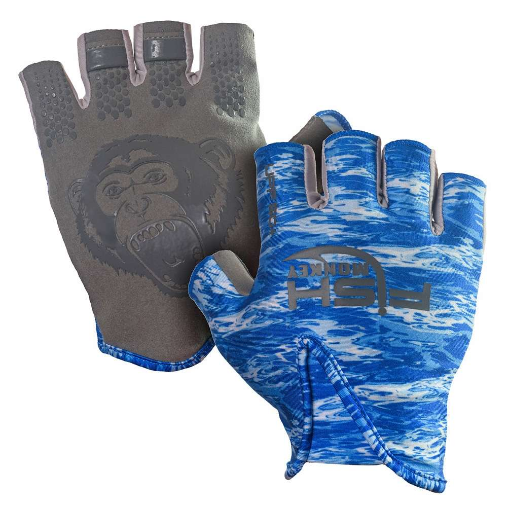 Fish monkey stubby guide glove blue water camo for Fish monkey gloves