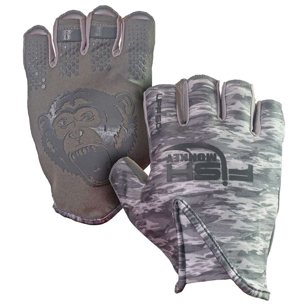 Fish monkey stubby guide glove grey water camo m for Fish monkey gloves