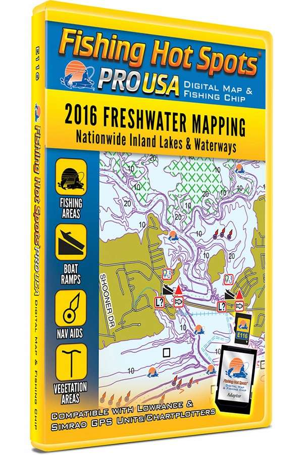 Fishing Hot Spots E116 PRO USA Digital Map - 2016 Freshwater Mapping FHS-0006