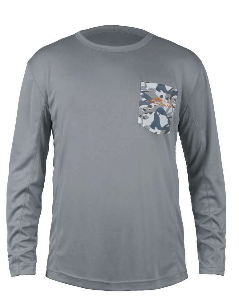 Grundens fish head long sleeve shirt monument grey for Fishing long sleeve shirts