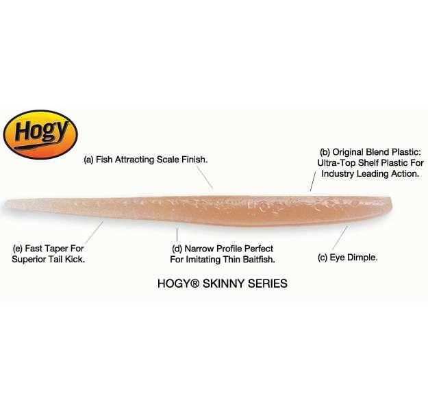 Hogy 6 Inch Skinny Soft Baits Bubble Gum HOG-0023-2