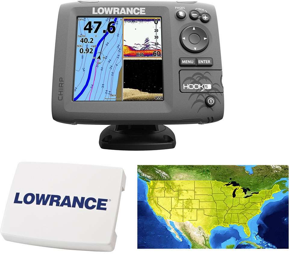 Lowrance HOOK-5 Combo w/ HDI Transducer, Cover, and Lake Insight -  000-12656-002