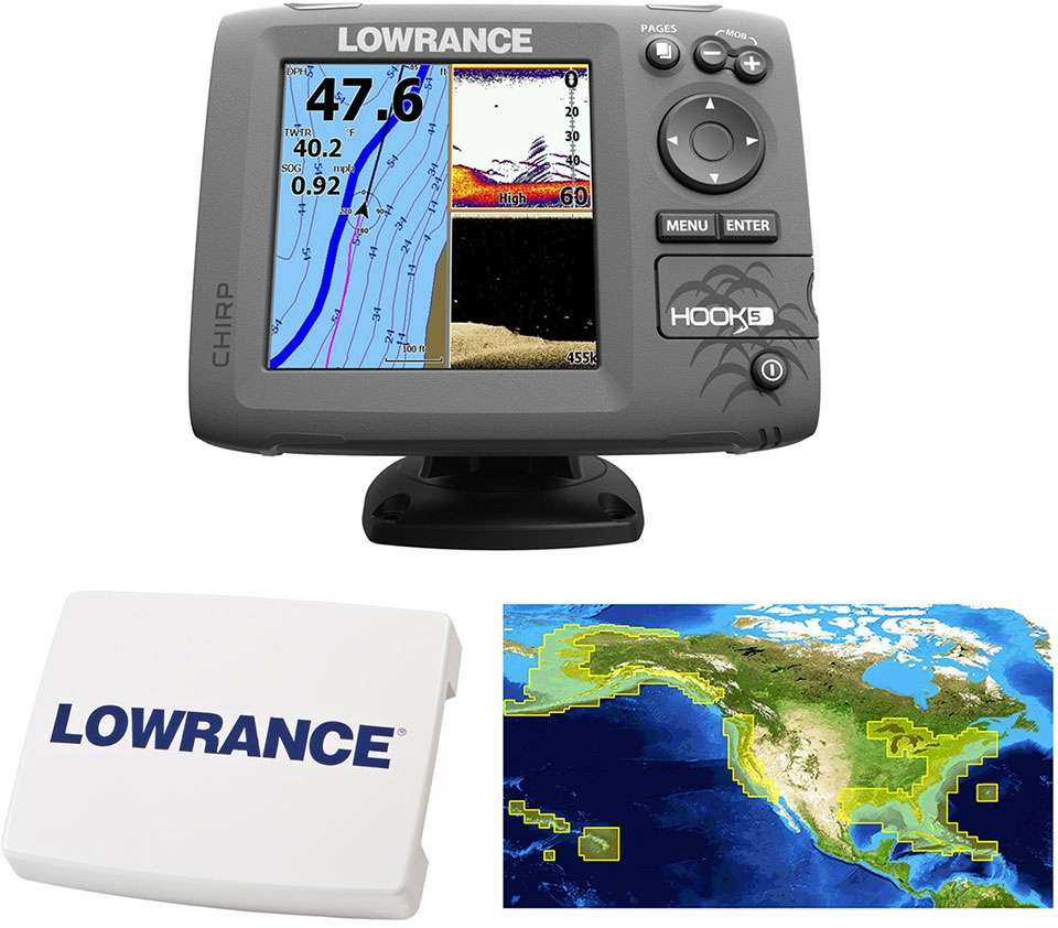 Lowrance HOOK-5 Combo w/ HDI Transducer, Cover, and Nautic Insight -  000-12656-003