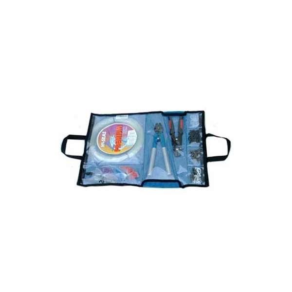 Nantucket bound blue mesh rigging bag for Rigged fishing backpack